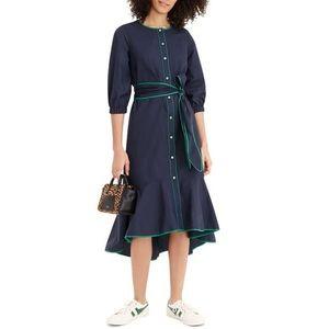 J.CREW  Tipped Cotton Poplin Nautical Blue Dress